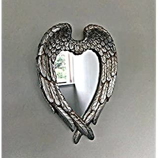 Homezone® Distressed Silver Angel Wings Wall Mirror Vintage Mirror, Love Heart Shape Ornate Mirror Shabby Chic Mirror For Living Room Bedroom Bathroom.