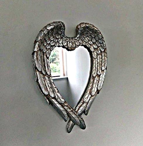 Homezone® Silber im Used Look Engel Flügel Wandspiegel Vintage Spiegel, Love Herz Form verzierter Spiegel Shabby Chic Spiegel für Wohnzimmer Schlafzimmer Badezimmer.