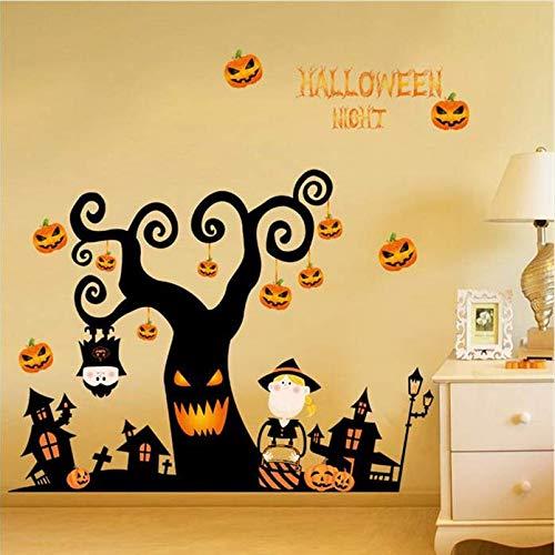 Hyllbb Halloween Nacht Wandaufkleber Diy Schrecklichen Baum Haus Geist Haus Kürbis Lichter Dekorative Malerei Schlafzimmer Wohnzimmer - Diy Halloween-geister-baum