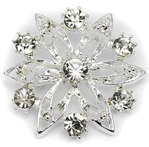 Elixir77UK Silver Colour Flower Wedding Bridal Gift Pin Brooch With Plain Crystals