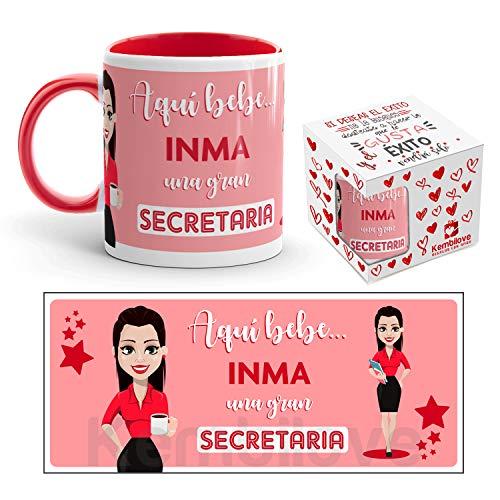 Kembilove Taza de Café de la Mejor Secretaria del Mundo Personalizada con el Nombre - Taza de Desayuno para la Oficina - Taza de Café y Té para Profesionales - Taza Impresa para Secretarias