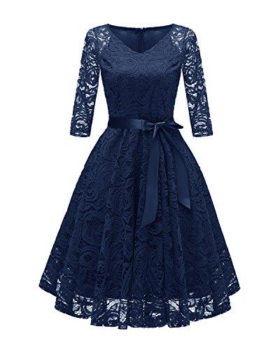 Laorchid Vintage Damen Kleid 3/4 Ärmel Floral Spitzenkleid Swing Cocktailkleid Navy L