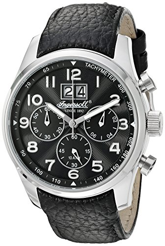 Ingersoll Men's Quartz Watch with Black Dial Chronograph Display and Black Leather Strap INQ038BKSL