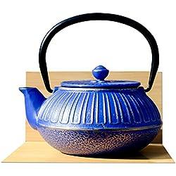 IMPERIAL-Teiera bollitore in ghisa, 0,6 l, colore: blu mezzanotte in stile giapponese Tetsubin, colore: oro