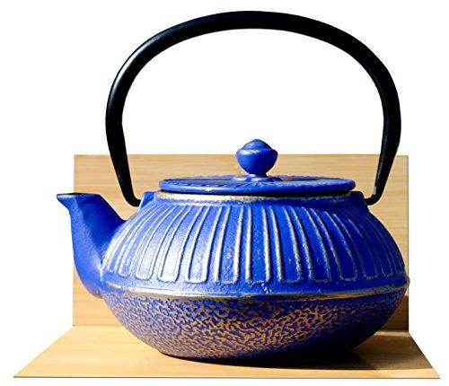 Imperial Gusseisen Teekanne Wasserkocher 0,6l Midnight Blau auf Gold Farbe Teekessel aus Gusseisen in japanischem Stil