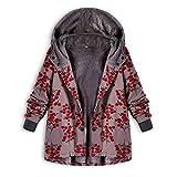 KUDICO Damen Lässigen Mantel Winter Plus Größe Vintage Print Pocket warm Kapuzen Parka Outwear Verdickte Jacke über Mantel Tops(Rosa, EU-48/CN-4XL)