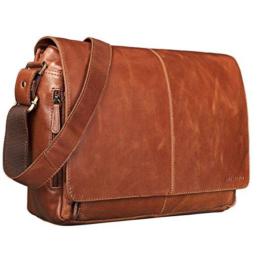 STILORD 'Alex' Vintage Ledertasche Männer Frauen Businesstasche zum Umhängen 15,6 Zoll Laptoptasche Aktentasche Unitasche Umhängetasche Leder, Farbe:Cognac - glänzend