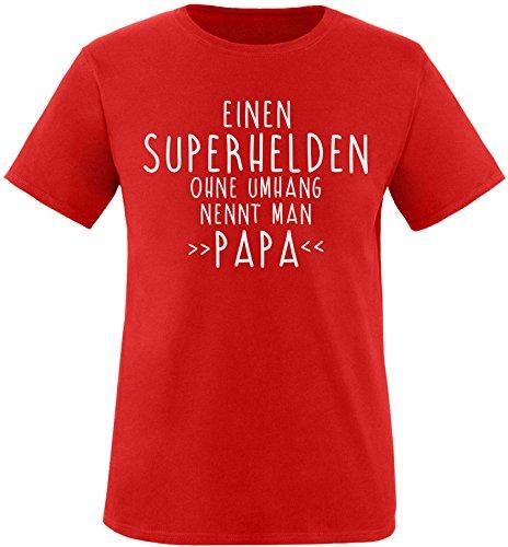 EZYshirt® Einen Superhelden ohne Umhang nennt man Papa Herren Rundhals T-Shirt Rot/Weiss
