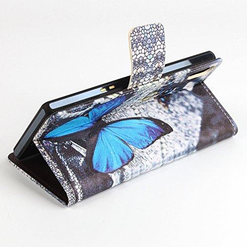 Easbuy Bunt Pu Leder Kunstleder Flip Cover Tasche Handyhülle Hülle Case Handytasche Schutzhülle Etui für Ulefone Paris / Paris X