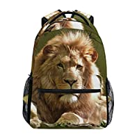 Casual Daypack Woods Lion Animal Backpack for Boys and Girls Cute Rucksack Bag Outdoor
