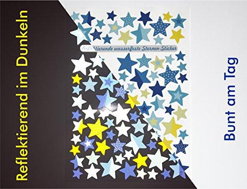 Jabalou Reflektiernede Fahrradaufkleber Sticker fürs Fahrrad Kinderfahrrad (Sterne Blau-Gelb) -