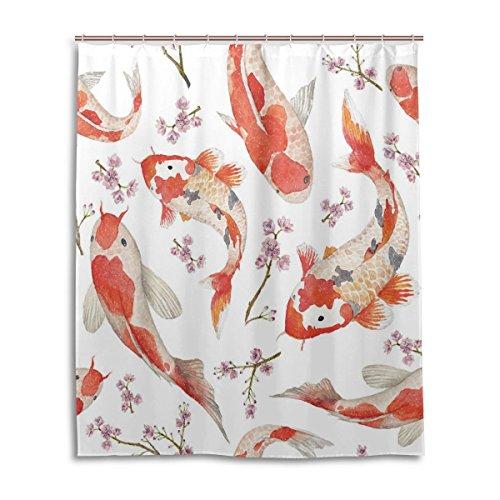 Cortina de ducha de baño 60x 72pulgadas, pintado a mano, CLASSIC de peces, tela de poliéster a prueba de moho cortina de baño