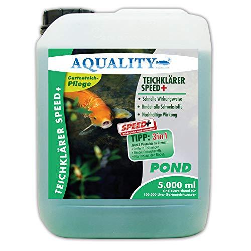 AQUALITY TeichKlärer Speed+ 3in1 (GRATIS Lieferung in DE - Entfernt Trübungen, bindet Schwebstoffe im Gartenteich - Nachhaltige Wirkung, kristallklares Teichwasser - Teichklar), Inhalt:5 Liter