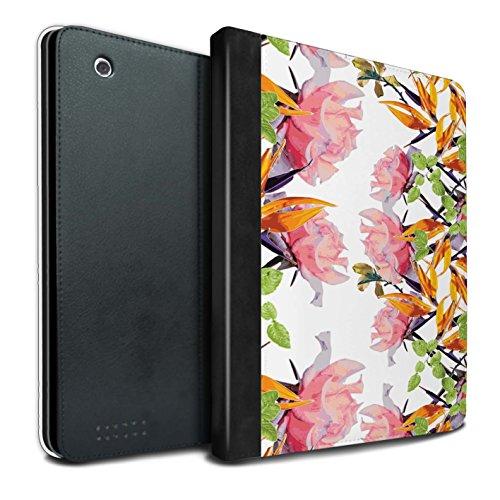 STUFF4 PU-Leder Hülle/Case/Brieftasche für Apple iPad 2/3/4 tablet / Üppiges Aquarell Muster / Klassisches Rosa Blumen Kollektion
