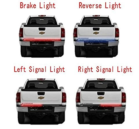 Opall 60 Inch Red / White Tailgate LED Strip Light Turn Signal Stop Brake Reverse Lights 1999-2015 Dodge Ram 1500 2500 3500 4500 5500 Chevrolet Chevy Silverado Avalanche Cadillac Truck SUV by (Silverado 3500 Pickup)