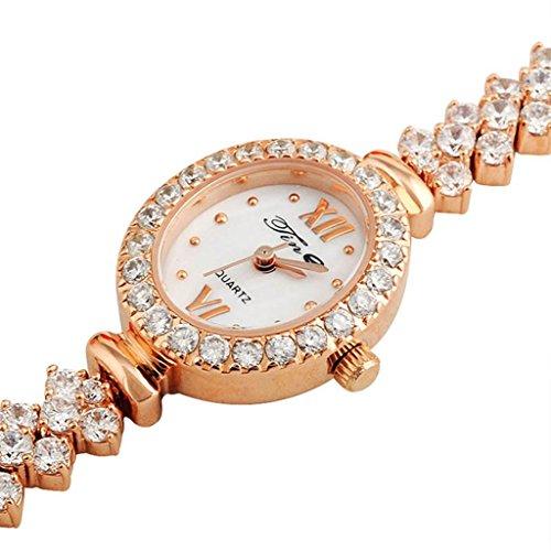 Kqs-xyt cinghia in lega di alluminio della rosa multislice di diamante alla moda della vigilanza impermeabile del braccialetto del quarzo