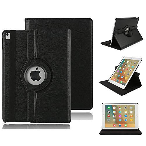 Smart Case für iPad 4 Hülle Case, elecfan® 360 Grad rotierend Kunstleder Schutzhülle Tasche Etui Smart Cover mit Auto Schlaf / Wach, Standfunktion, für iPad 2/3/4 (iPad 2/3/4, Braun) Schwarz
