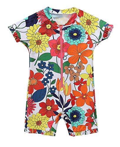 CharmLeaks Baby - Einteiler Kinder Badeanzug für Mädchen Allover Blumen Print UV-Schutz 50+ Sonnenblume 3-6 Monate