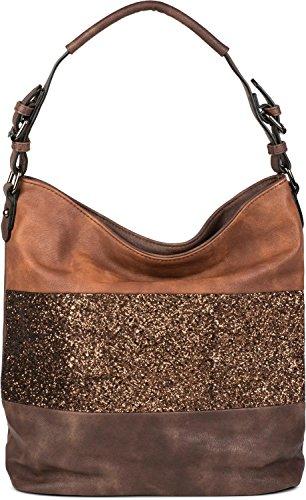 styleBREAKER edle 2-farbige Hobo Bag Handtasche mit Pailletten Streifen, Shopper, Schultertasche, Tasche, Damen 02012181, Farbe:Dunkelbraun / Braun -