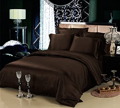 [hachette] 3PC 200TC [CHOCOLATE/KING SIZE] 100% EGYPTIAN COTTON DUVET COVER BEDDING BED DUVET SET WITH PILLOWCASES 200 THREAD COUNT (DARK BROWN)