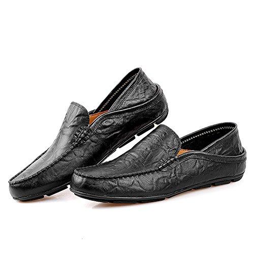 AgeeMi Shoes Herren Slip on Rund Schließen Zehe Mokassin Klassischer Schuhe Schwarz