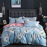 BH-JJSMGS Weiche Faser - Bettwäsche und Kissenbezug, vierteiliger Bettbezug aus Leinen, blau 150 * 200 cm