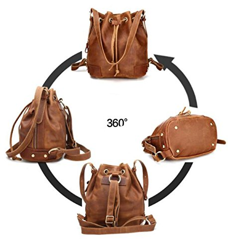Casual Schulter Messenger Bag Bucket Bag Retro Damen Rucksack Brown