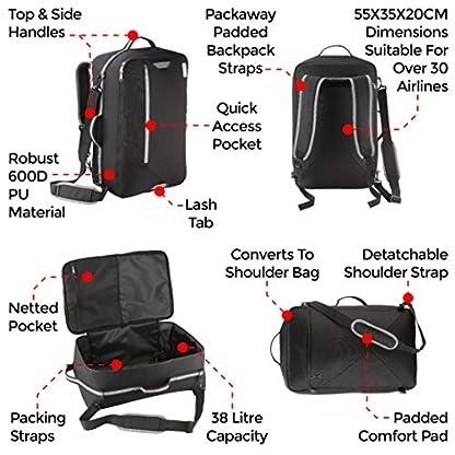 Cabin Max Bergen cabina de bolsa y una mochila con unas dimensiones 55x35x20cm