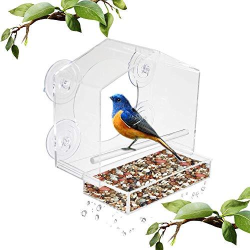 Vogelfutterstation 4 SaugnäPfe HäNgend Wildvogel Feeder, Klares Acryl GehäUse, Einfach Zu SäUbern, Vogelhaus Mit AblauflöCher -