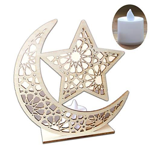 Manyo Eid Mubarak Dekoration + LED Licht, muslimische Islam Dekoration, Dekoration, Handwerk, Dekoration für Hochzeit, Schlafzimmer, Büro, Teil, Zubehör, Lune &Étoiles, 5.91x1.97x5.91in