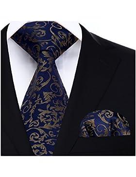 Hisdern Panuelo de lazo de boda Paisley floral Panuelo de corbata de hombre y conjunto de bolsillo cuadrado