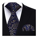 Hisdern Extra long Floral Paisley Cravate Mouchoir Cravate des hommes & Carre de poche Set Bleu marine/marron