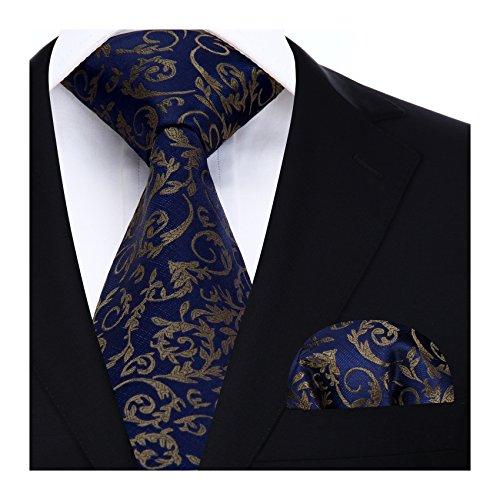 HISDERN Panuelo de lazo de boda Paisley floral Panuelo de corbata de hombre y conjunto de bolsillo cuadrado Azul marino / Marron