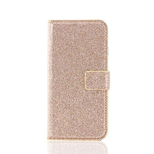 Cover per iPhone 7, Tpulling Custodia per iPhone 7 Case Cover Copertura della pelle di caso del cuoio di vibrazione del raccoglitore di Bling Glitter di Bling per il iPhone 7 4.7 pollici (Rose Gold) gold