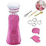Efanty Kit utensili cucina Giochi d'imitazione di Bambini 11pcs Bambini Costume da Cuoco Regalo perfetto per ragazzi e ragazze rosa