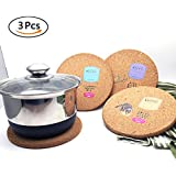 Fancyku Round Shape Wood Anti Hot Heat Resistant Pot Holder Anti-Slip-Resistant Pad Dining Table Mat Placemat 3 Pack