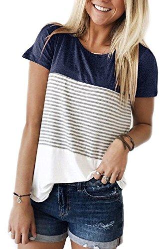 Schwarz-Weiß Gestreift Oberteil T-Shirt Loose Fit Pullover Shirts Top Marineblau M