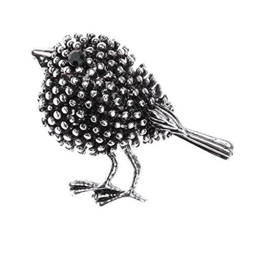 MagiDeal Vintage Blume/Vögel/Flamingo/Insekt/Erbse Stil Strass Brosche Pin Ansteckernadel Sicherheitsnadel Modeschmuck - Alte silberne Vogel-Diamant-Brosche