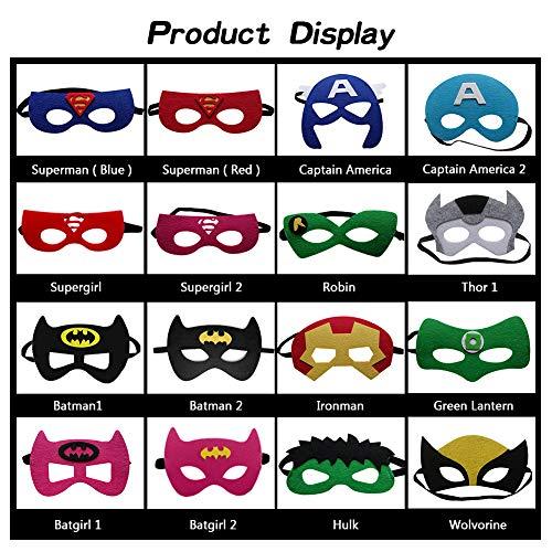 519VEMMlbPL - Ventdest Máscaras de Superhéroe, Suministros de Fiesta de Superhéroes, Máscaras de Cosplay de Superhéroe, Máscaras de Media Fiesta para Niños o Niños Mayores de 3 Años - 32 Piezas