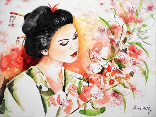 Posterlounge Cuadro Sobre Lienzo 160 x 120 cm: Geisha de Maria Földy - Cuadro Terminado, Cuadro Sobre Bastidor, lámina terminada Sobre Lienzo auténtico, impresión en Lienzo