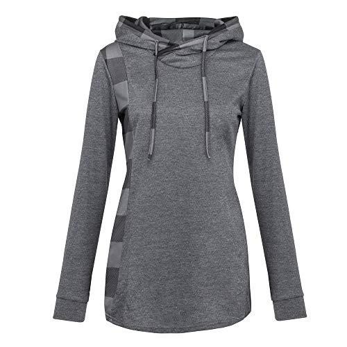 VEMOW Herbst Winter Elegante Damen Frauen Langarm Hoodies mit Knopf Gedruckt Lässig Täglichen Sport Outdoors Hoodies Herbst Sweatshirt(Y1-Grau, EU-40/CN-M)