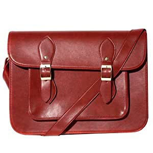 Red Large Faux Leather Double Buckle Satchel with Magnetic Fastening Available in a Selection of Colours