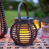 Round Rattan Solar Powered LED Garden Lantern by Lights4fun