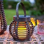 Lights4fun Set of 2 Rattan Solar Powered LED Outdoor Garden Lanterns 7