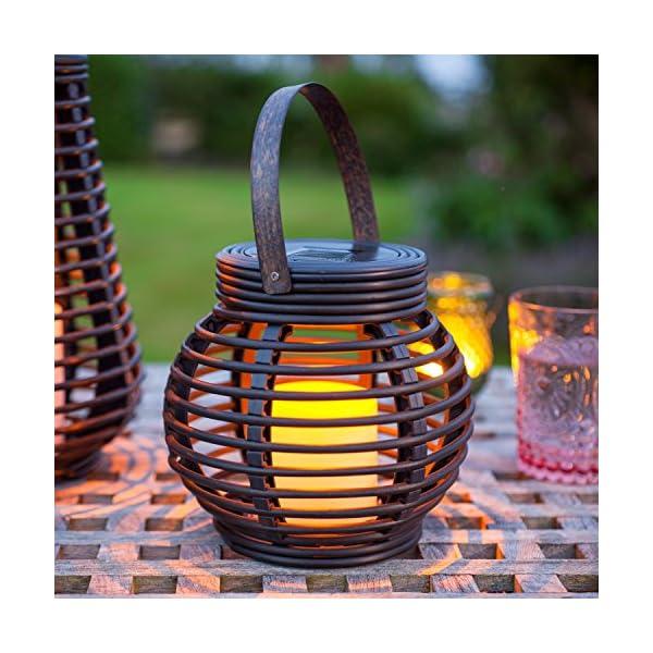 Lights4fun Set of 2 Rattan Solar Powered LED Outdoor Garden Lanterns 2