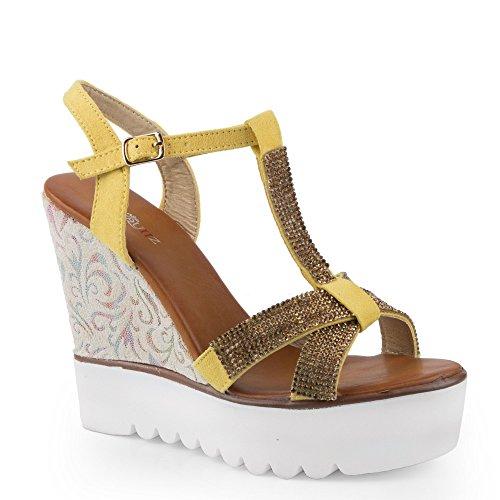 Ideal Shoes–kompensiert Sandale mit Flansch aus T Strasssteinen Damienne Gelb - gelb