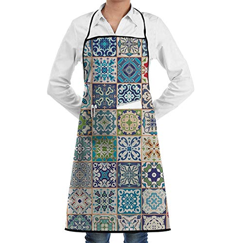 VAICR Kochschürze Küchenschürze,Apron Bib Floral Patchwork Design Apron for Women with 2 Pockets,Adjustable Machine Washable Kitchen Cooking Bib Apron,Easy to Clean -