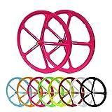 Laufradsatz Singlespeed Fixie 700C/28' Vorderrad und Hinterrad mit Freilaufritzel - Leichtmetall - 8 Farben (Pink)