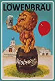 Löwenbräu Oktoberfest Löwe mit bier und ballon alkohol metal sign deko sign projekt blech