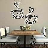 WSLIUXU Tazza di caffè Caffè Tè Wall Sticker Art Decalcomania del vinile Vita Cucina Ristorante Bar Wall Sticker Wall Decorating Pattern Staccabile Home Garden Wall Sticker Bianco 01 35x42cm